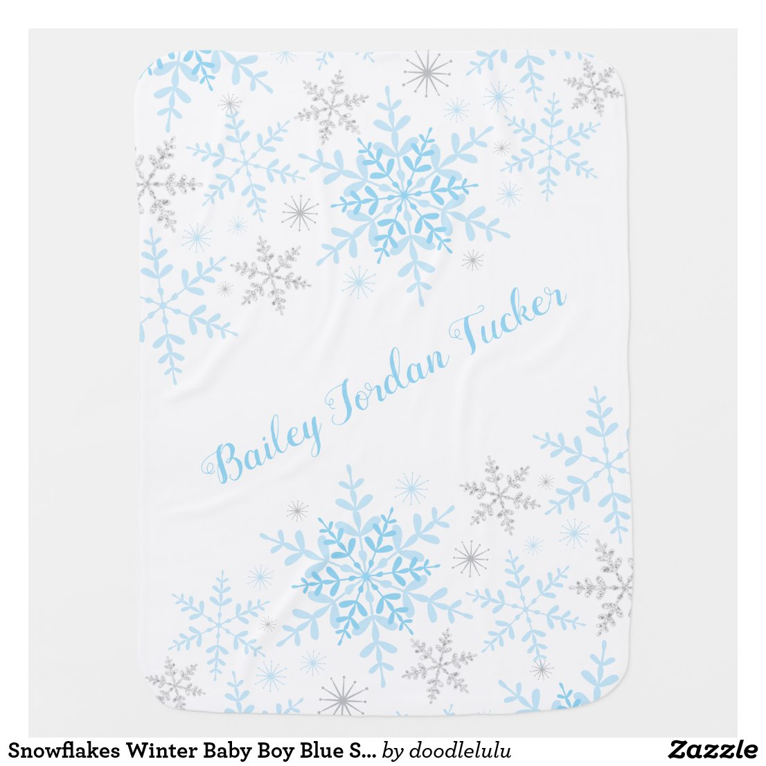 Snowflakes Winter Baby Boy Blue Silver Glitter Baby Blanket