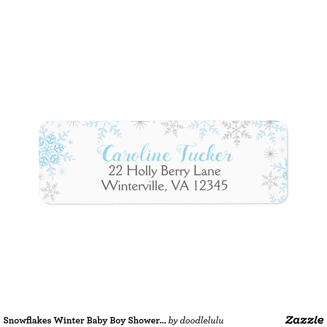 Snowflakes Winter Baby Boy Shower Blue Silver Label