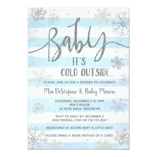 Snowflakes Winter Baby Shower Invitation