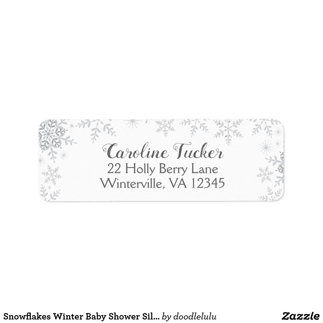Snowflakes Winter Baby Shower Silver Glitter Label