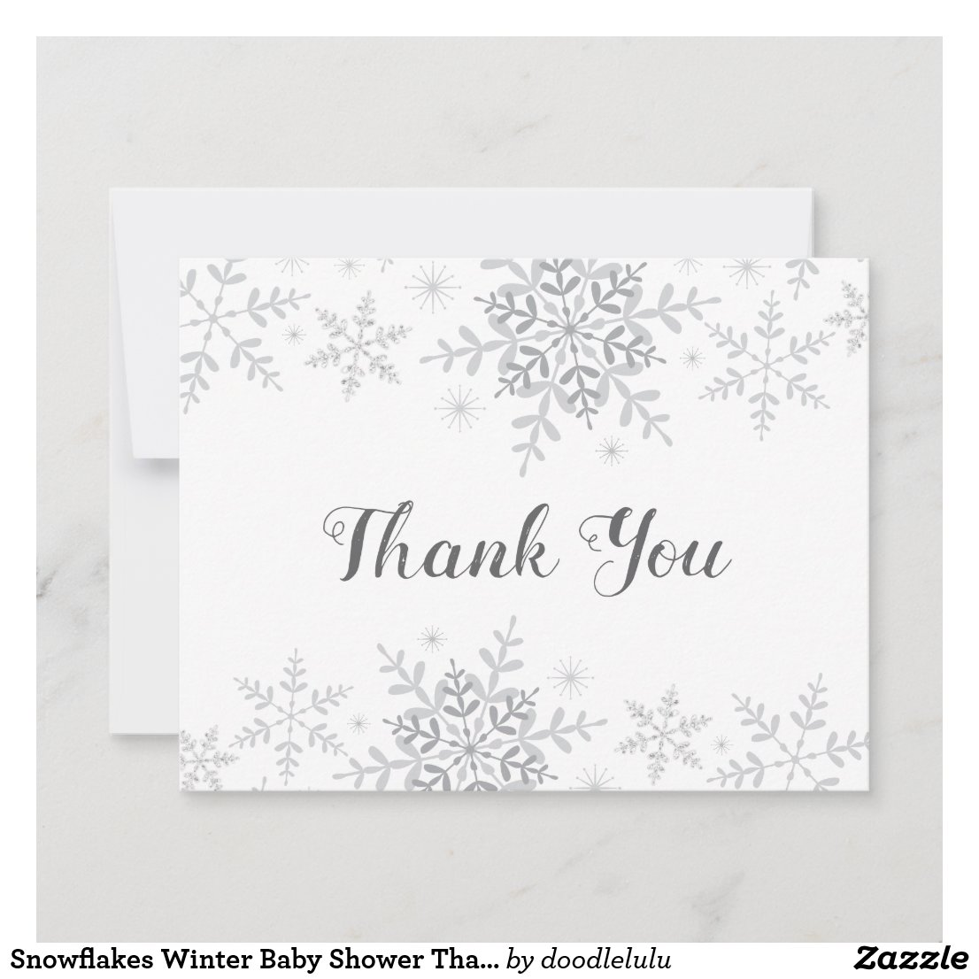 Snowflakes Winter Baby Shower Thank You Card
