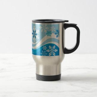 Snowflakes Winter Background Vector BLUES WHITE SW Travel Mug