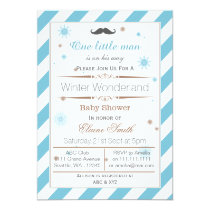 Snowflakes winter Moustache baby shower invitation