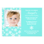 Snowflakes Winter Onederland Aqua Photo Birthday Personalized Invitation
