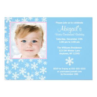 Snowflakes Winter Onederland Photo Birthday Custom Invitations