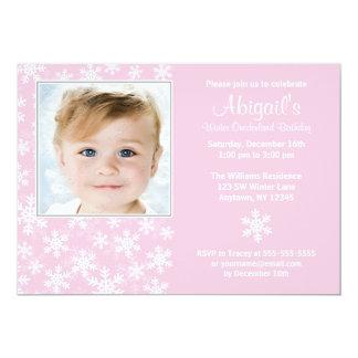 Snowflakes Winter Onederland Pink Photo Birthday Card
