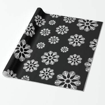 Beach Themed Snowflakes Winter Pattern Holiday Black Wrapping Paper