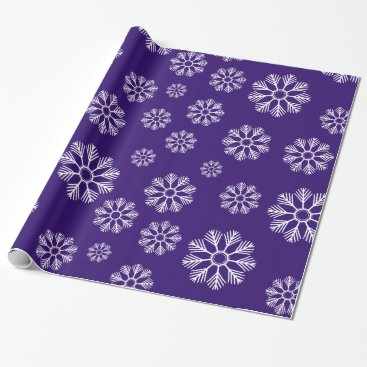 Beach Themed Snowflakes Winter Pattern Holiday Purple Wrapping Paper