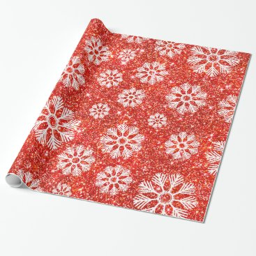 Beach Themed Snowflakes Winter Pattern Holiday Red Faux Glitter Wrapping Paper