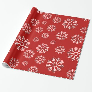 Beach Themed Snowflakes Winter Pattern Holiday Red Wrapping Paper