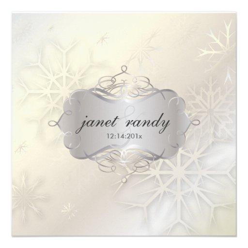 Snowflakes Winter Wedding Invitations 525 Square Invitation Card