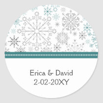 Snowflakes Winter Wedding Stationery Classic Round Sticker