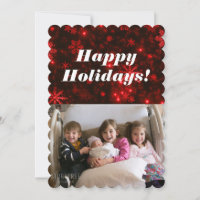 Snowflakes with Deep Red Background Flat Card