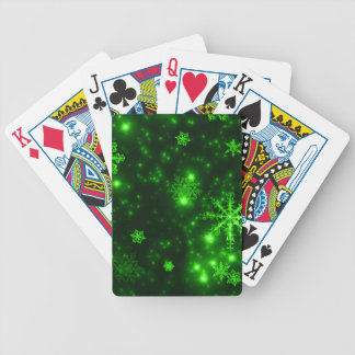 Snowflakes with Green Background Bicycle Playing Cards