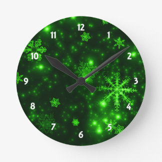 Snowflakes with Green Background Round Clock