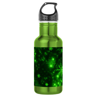 Snowflakes with Green Background Stainless Steel Water Bottle