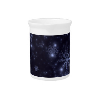 Snowflakes with Midnight Blue Background Beverage Pitchers