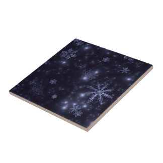 Snowflakes with Midnight Blue Background Tile