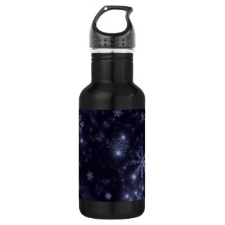 Snowflakes with Midnight Blue Background Water Bottle