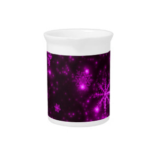 Snowflakes with Purple Background Beverage Pitcher