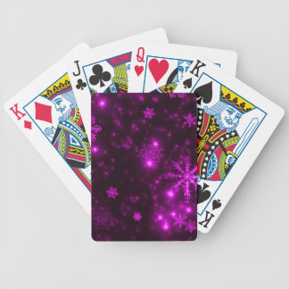 Snowflakes with Purple Background Bicycle Playing Cards
