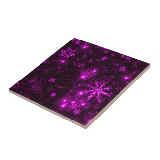Snowflakes with Purple Background Tile