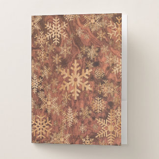 Snowflakes Wood Inlay Graphic Print Decor on a Pocket Folder
