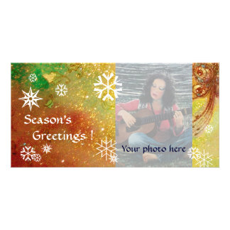 SNOWFLAKES ,yellow,red,brown,green,white Card