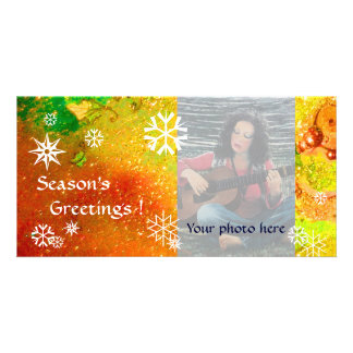 SNOWFLAKES ,yellow,red,brown,orange,green,white Card