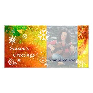 SNOWFLAKES ,yellow,red,brown,orange,green,white Card