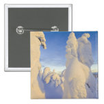 Snowghosts at sunset at Whitefish Mountain 2 Inch Square Button