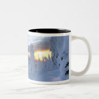 Snowghosts at sunset at Whitefish Mountain Two-Tone Coffee Mug