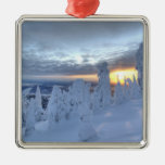 Snowghosts at sunset at Whitefish Mountain Square Metal Christmas Ornament