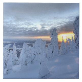 Snowghosts en la puesta del sol en la montaña del  azulejo cuadrado grande
