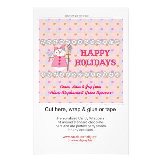 Snowgirl Pink Holiday Candy Wrappers Flyer