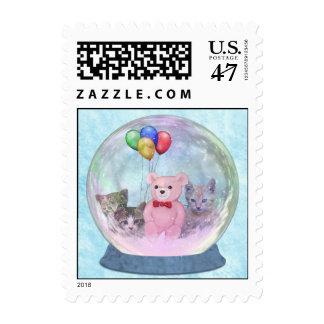 Snowglobe con los gatitos y globos y Peluche-Oso Timbre Postal