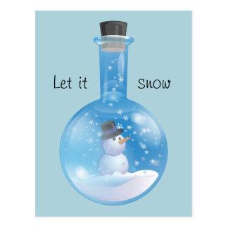Snowglobe flask postcard