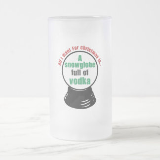 snowglobe frosted glass beer mug