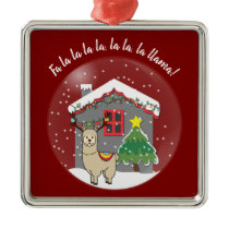 Snowglobe Llama with Christmas Tree & House Metal Ornament