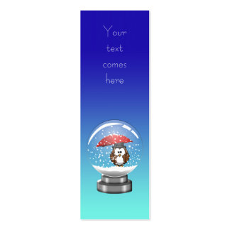 snowglobe owl Double-Sided mini business cards (Pack of 20)