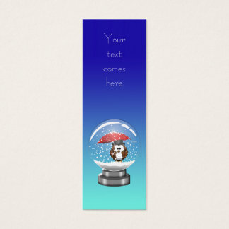 snowglobe owl mini business card