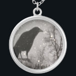 """Snowglobe Raven Silver Plated Necklace<br><div class=""""desc"""">Raven perched on a globe in the winter as the snow falls around him. Unusual Gothic necklace. Click Customize if you would like to add your own personal touch, such as text or a name. The skies the limit as to what you might come up with creating your own words...</div>"""