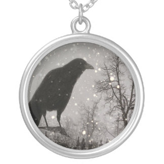 Snowglobe Raven Silver Plated Necklace