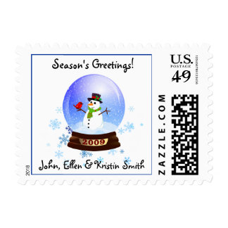 Snowglobe Snowman Holiday Postage Stamps