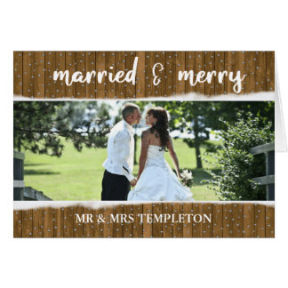 Snowing Christmas Wedding Photo Thank You Card