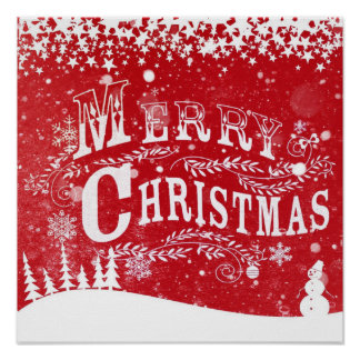 Snowing Merry Christmas Designer Poster