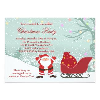 Snowing Santa sleigh Christmas party invitation