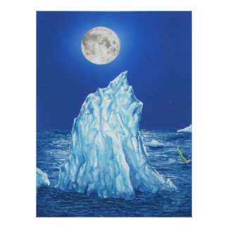 Snowland Iceberg Under the Full Moon Poster