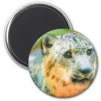 SnowLeopard 2 Inch Round Magnet