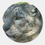 snowleopard pegatina redonda